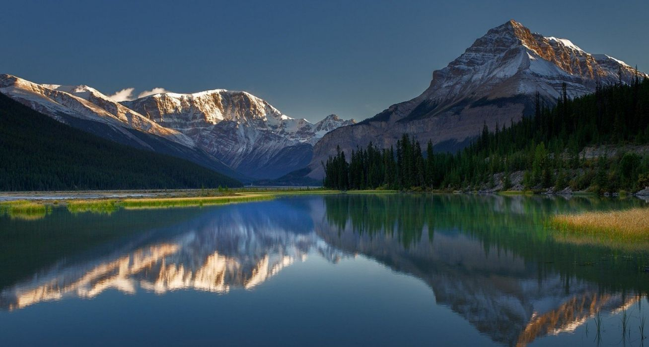 Calm Canada forest lake landscape Morning nature photography reflection Rocky Mountains wallpaper