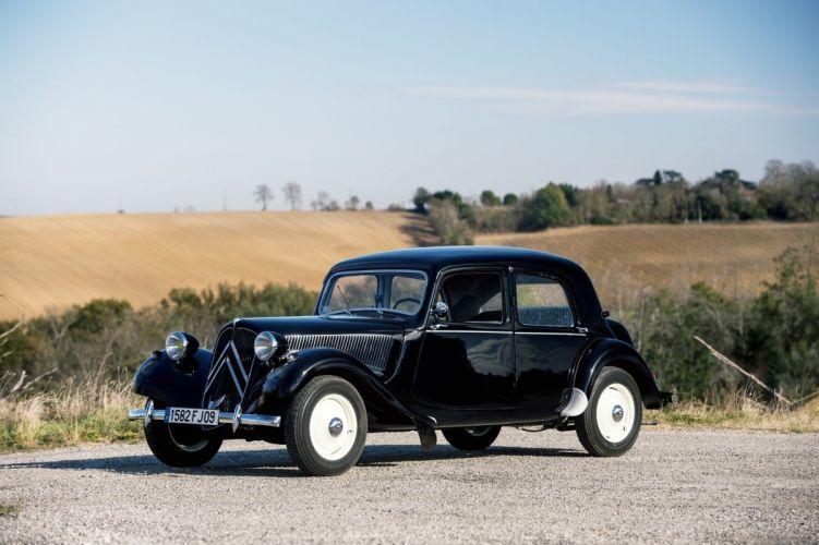 1952 Citroen Traction Avant 11CV berline black cars classic wallpaper
