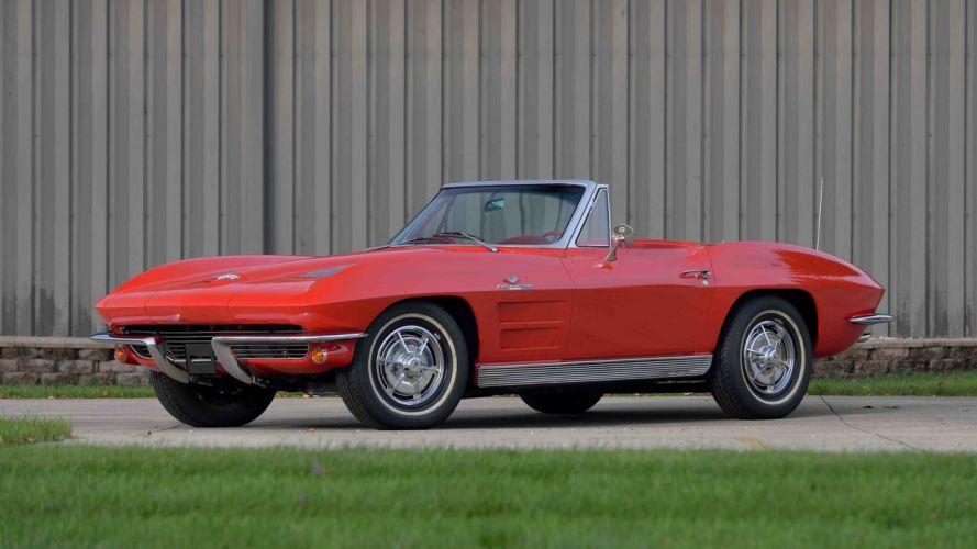1963 CHEVROLET CORVETTE (c2) CONVERTIBLE 327 cars red wallpaper