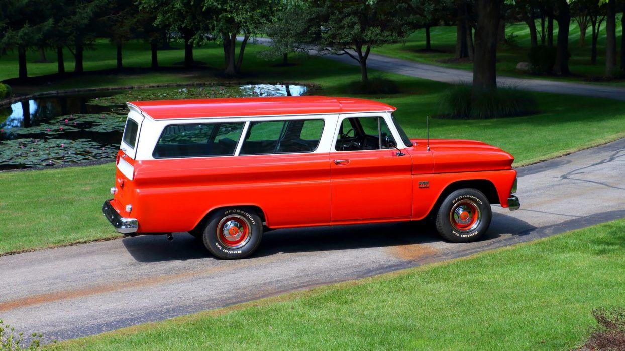 1966 CHEVROLET SUBURBAN cars red station wagon wallpaper