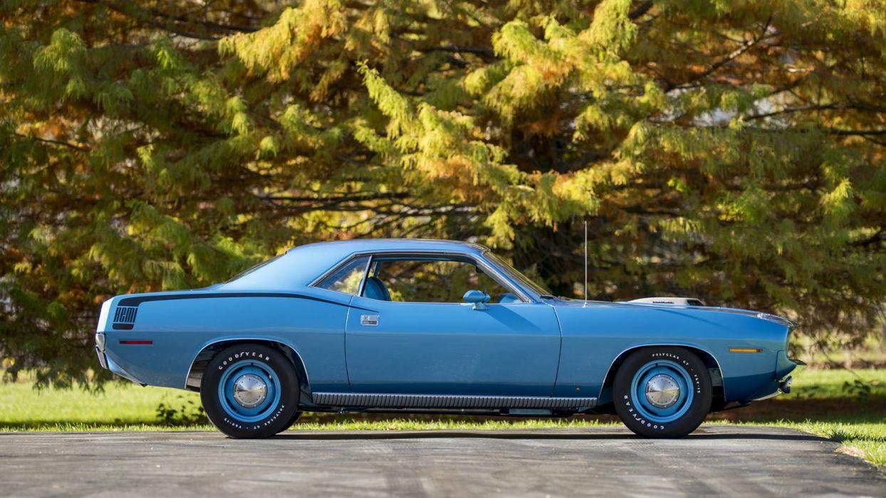 1970 PLYMOUTH HEMI CUDA 426 cars blue wallpaper