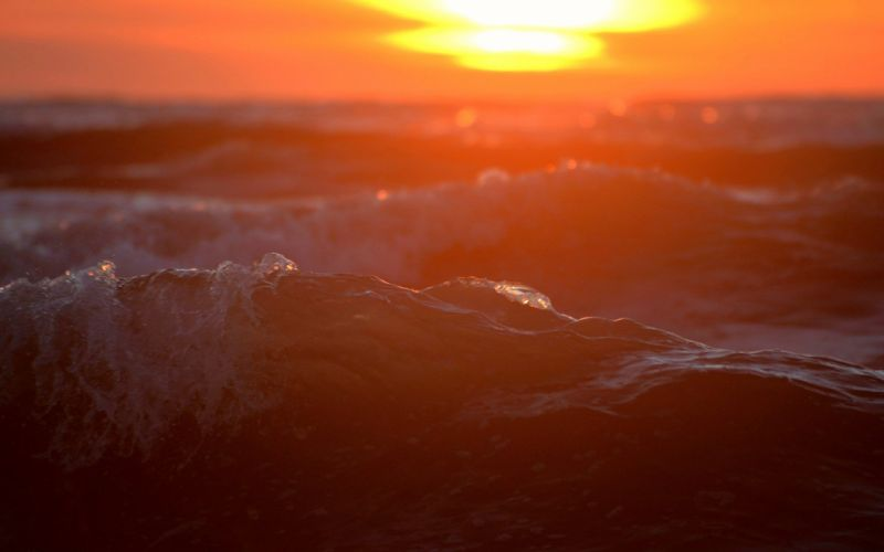 ocaso olas mar naturaleza wallpaper