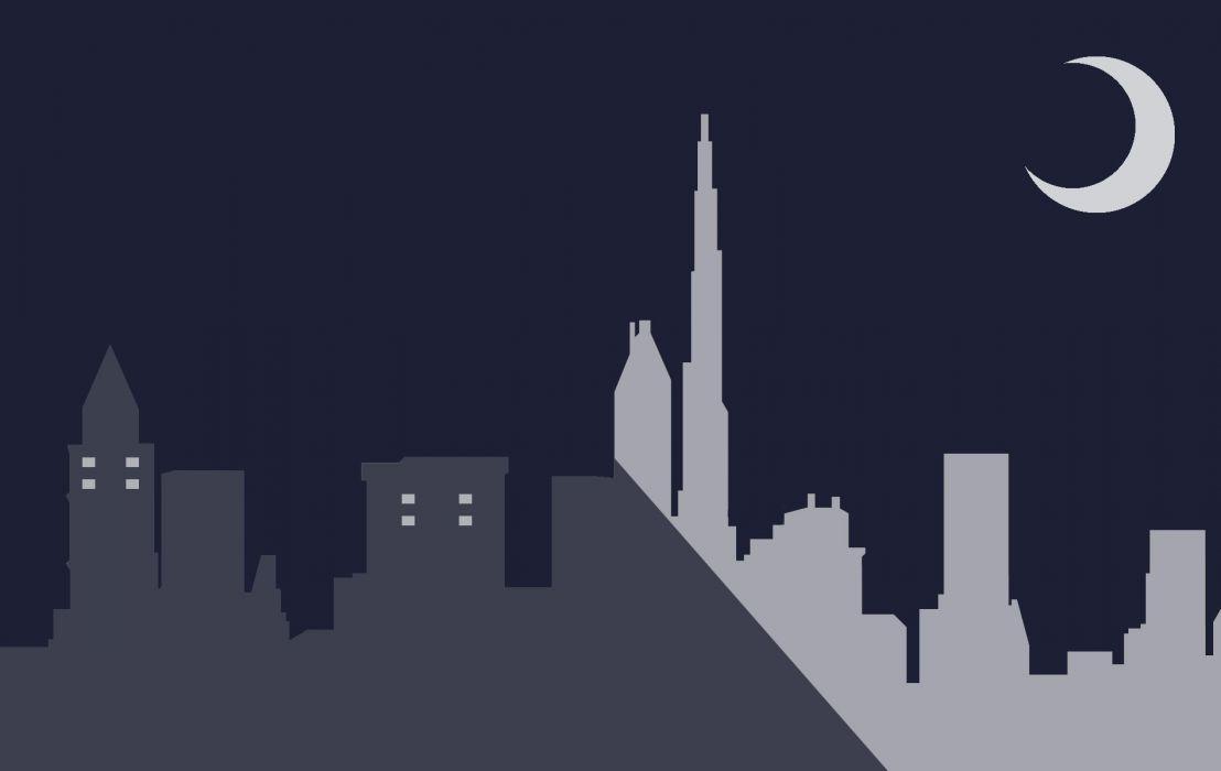 minimalism minimalist minimal city night moon moonlight wallpaper