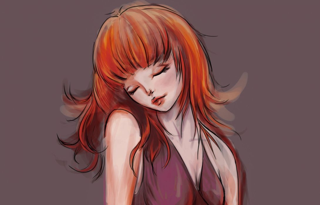 red hair artwork women wallpaper