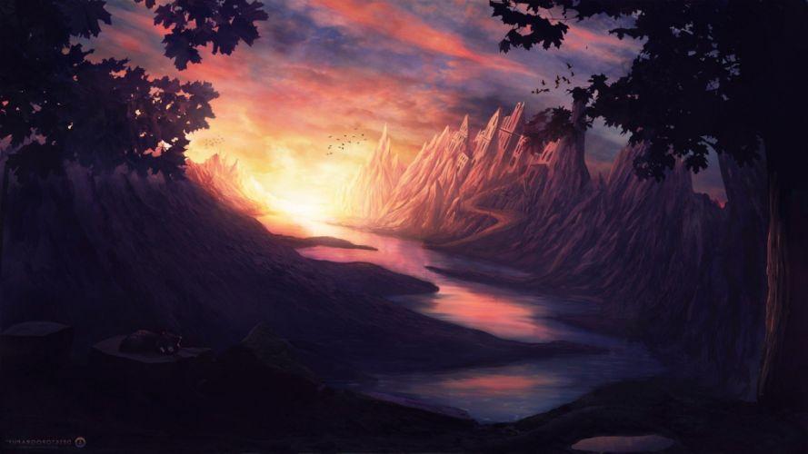 castle cat clouds Desktopography fantasy Art mountain river sun wallpaper