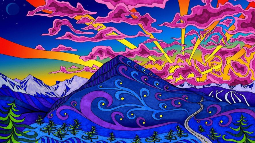 artwork Colorful Hill lines Moon mountain nature psychedelic road sky Snowy Peak stars wallpaper