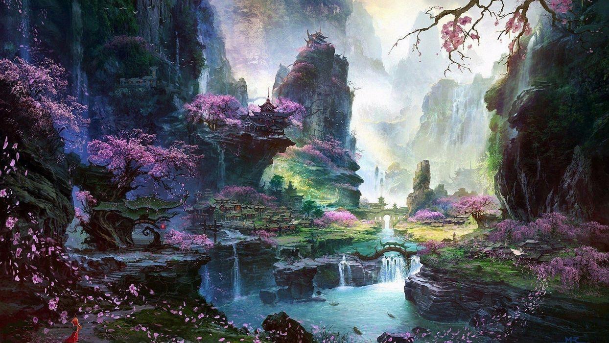 artwork bridge castle Cherry Blossom digital art dress fantasy Art Halo lake landscape wallpaper