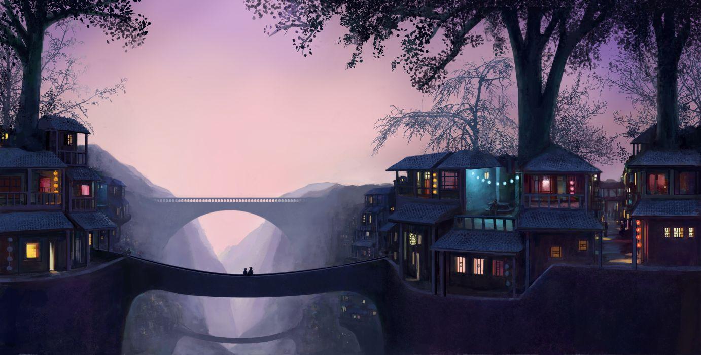 eveningarchitecture artwork bridge couple digital art drawing Evening fantasy Art house Lights Trees wallpaper