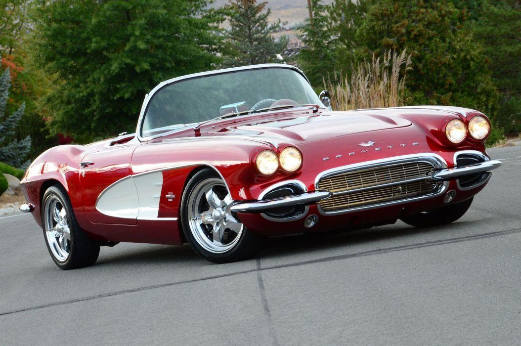 1961 chevy Corvette cars convertible(c1) red wallpaper
