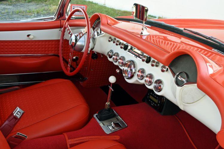 1956 chevy Corvette cars (c1) orange wallpaper