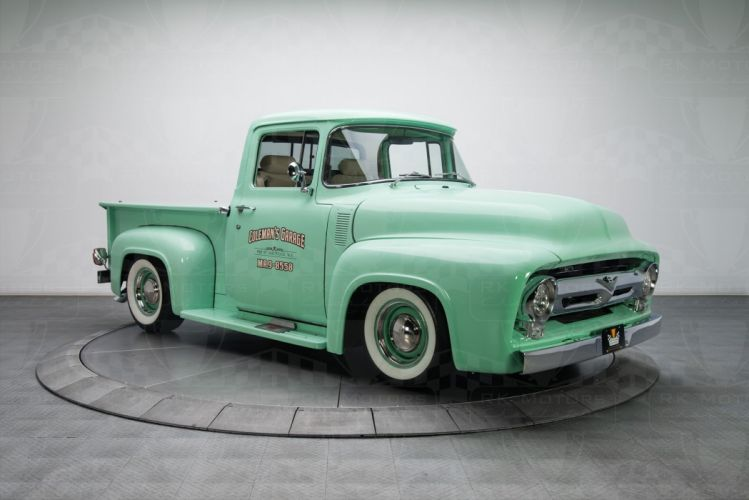 1956 Ford F100 Pickup Truck green wallpaper
