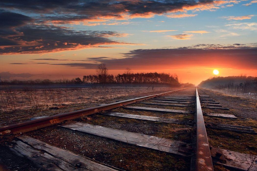 amanecer vias tren horizonte wallpaper