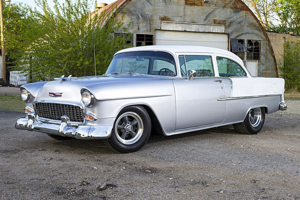 Chevy 210 Silver White cars 1955 wallpaper