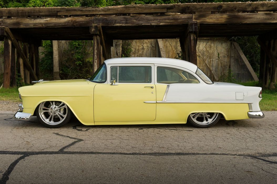 1955 Chevy 210 yellow white cars modified wallpaper