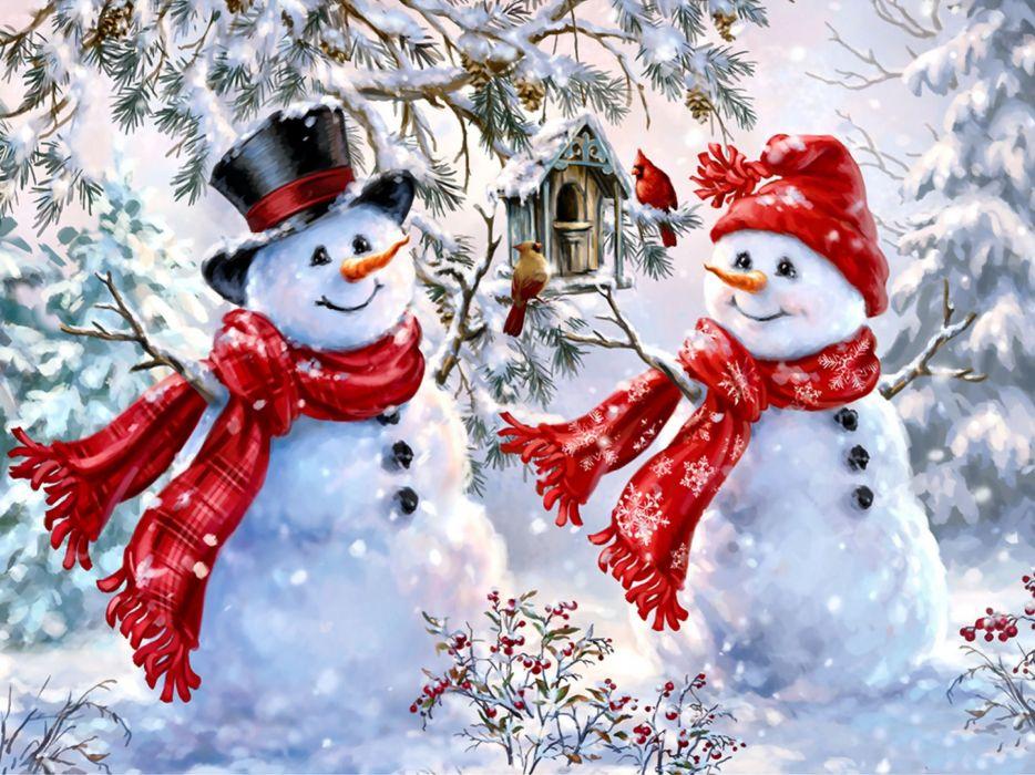 Snow Sweethearts wallpaper