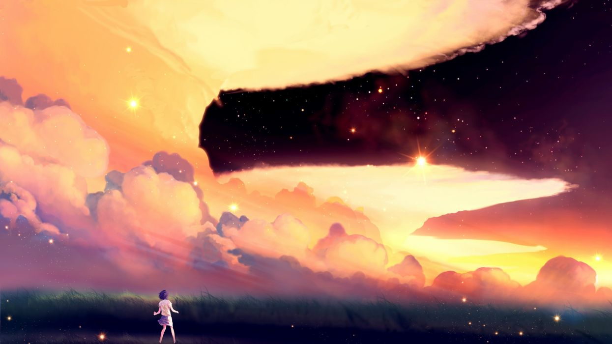 anime artwork clouds field sky stars wallpaper