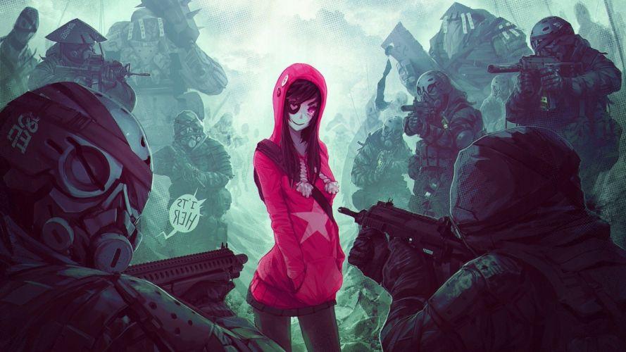 Anime Girls artwork Eye Patch gun soldier wallpaper
