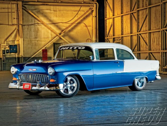 1955 Chevy 210 cars blue modified wallpaper