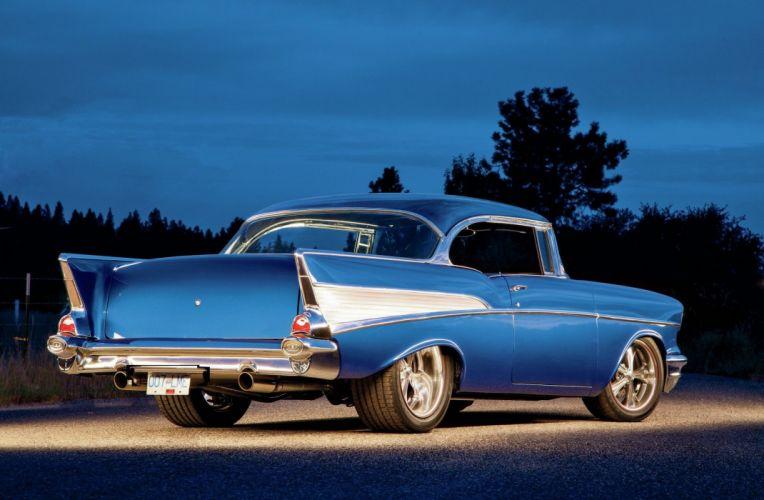 1957 Chevrolet Bel Air cars blue modified wallpaper