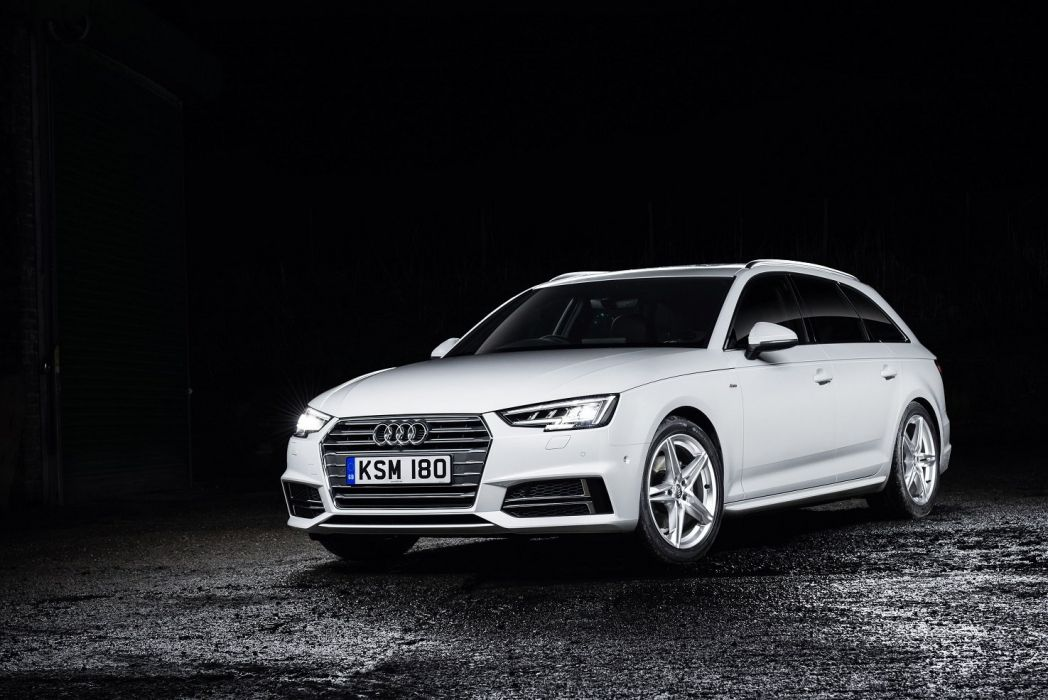 Audi A4 Avant TDI S-line UK-spec (B9) cars 2016 white wallpaper