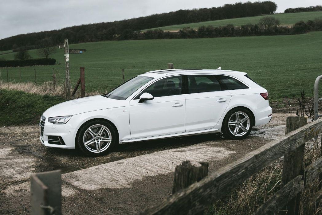 Audi A4 Avant TDI S-line UK-spec (B9) cars 2016 white wallpaper