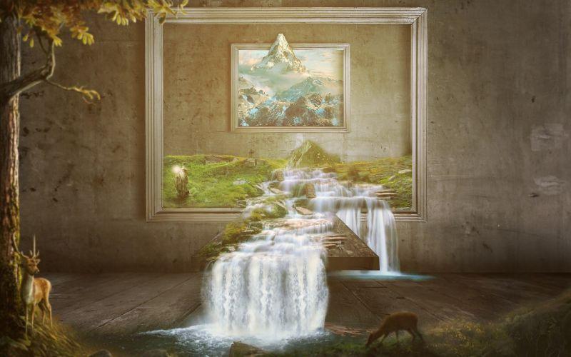 waterfall paint-1920x1200 wallpaper