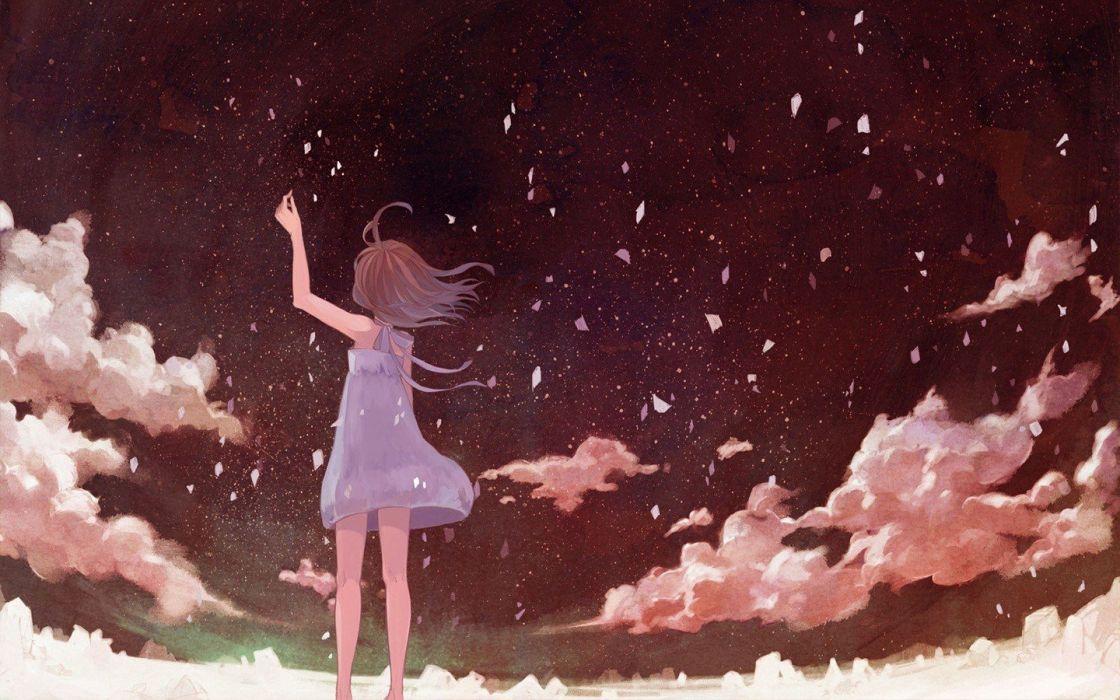 Anime Girls petals clouds sky dress wallpaper