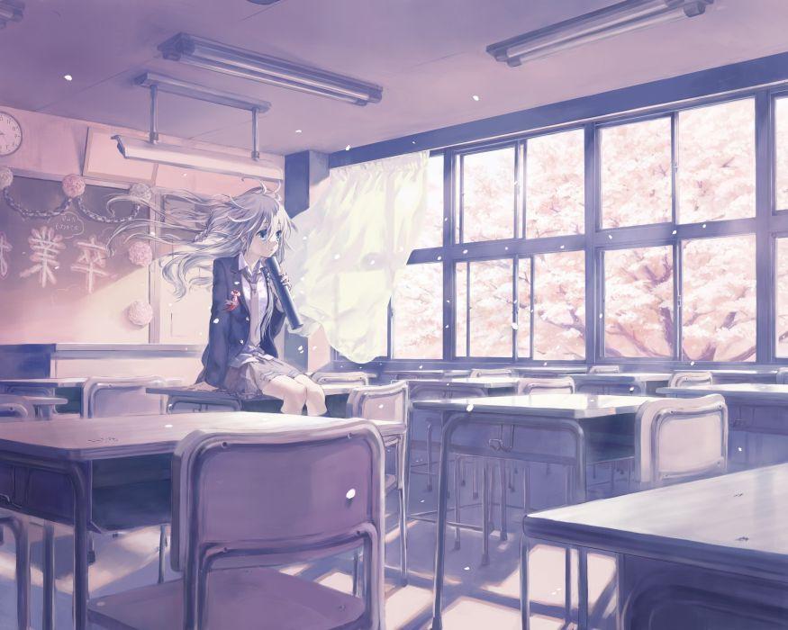 anime Anime Girls Classroom IA (Vocaloid) School Uniform vocaloid wallpaper