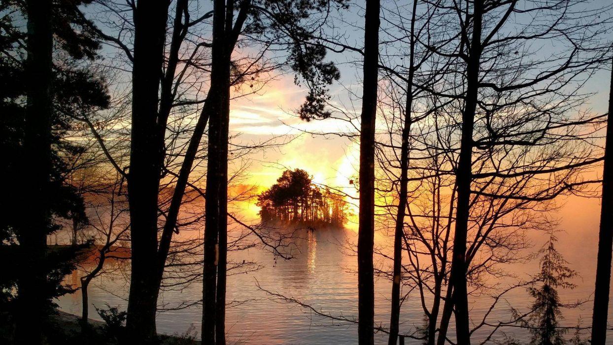island lake keowee South Carolina sunset Trees wallpaper