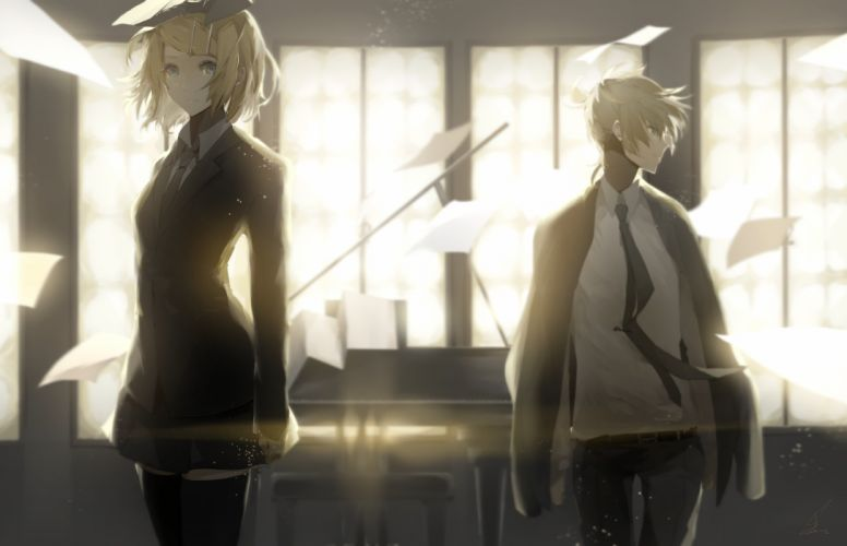 Blonde Blue Eyes Len Kagamine Paper Rin Kagamine Shirt Short Hair Skirt Suit Thigh Highs Tie Vocaloid wallpaper