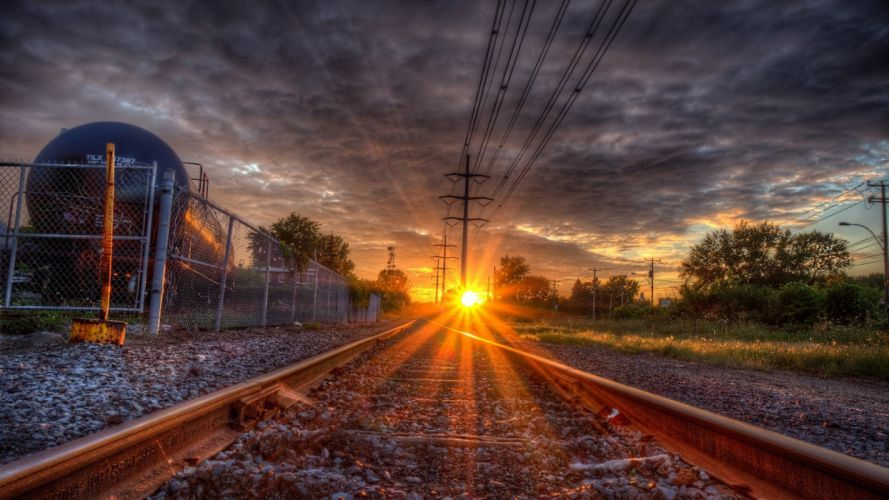 Sunset Over Train Tracks wallpaper