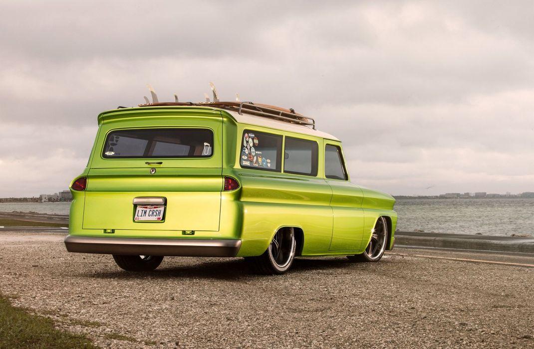 1966 Chevrolet Suburban cars green modified wallpaper