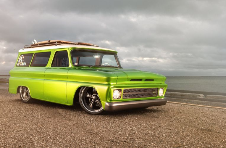 1966 Chevrolet Suburban cars green modified wallpaper