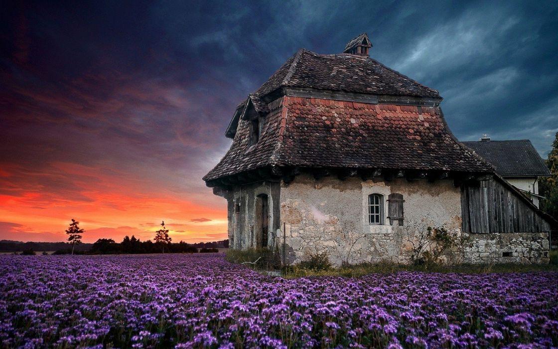 clouds Farm field flowers house landscape Lavender nature Old Purple sky Spring sunset wallpaper
