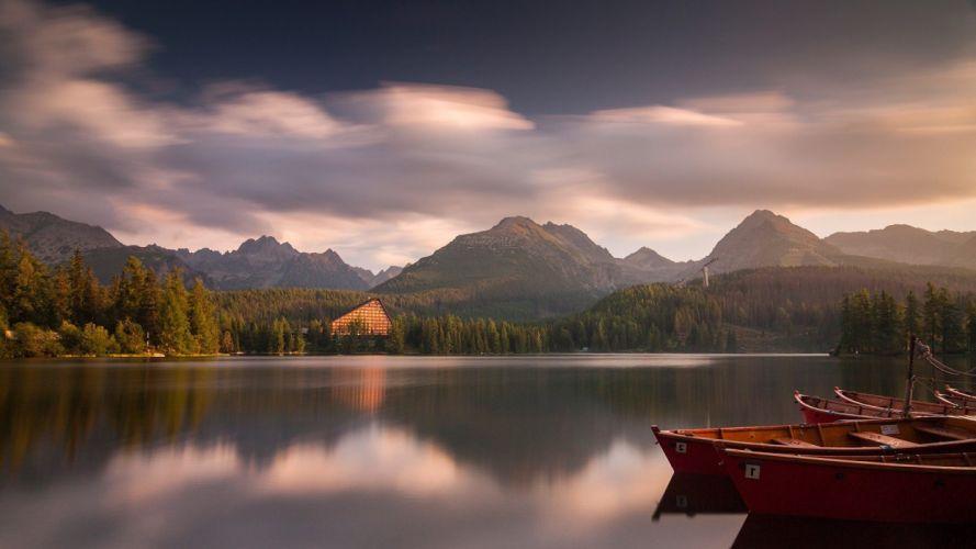 boat lake mountain water wallpaper