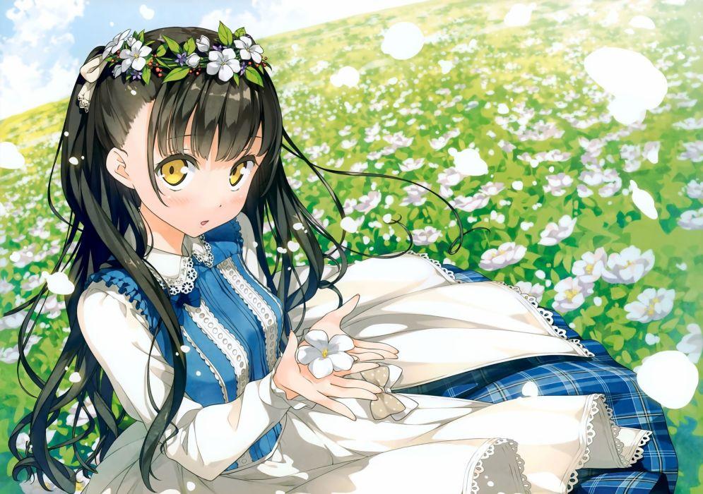 Afterschool Of The 5th Year Anime Girls Black Hair dress flowers Hair Ornament Kantoku wallpaper