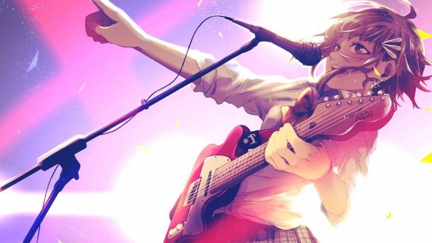 guitar gumi instrument microphone short hair vocaloid anime girl wallpaper
