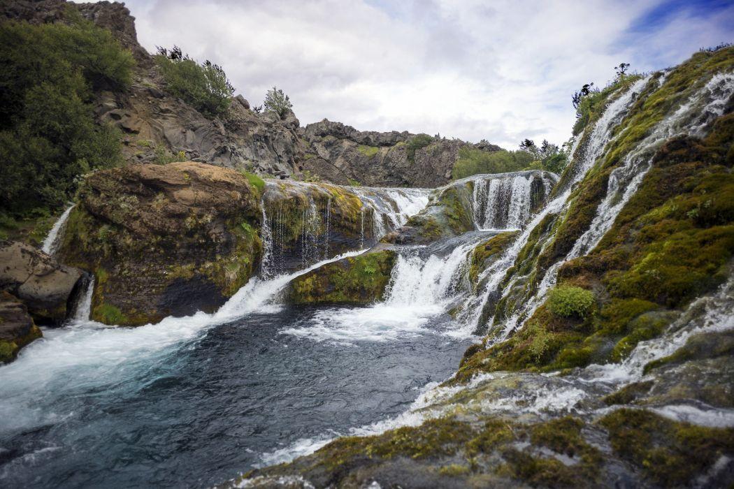 rio naturaleza cascada arboles wallpaper