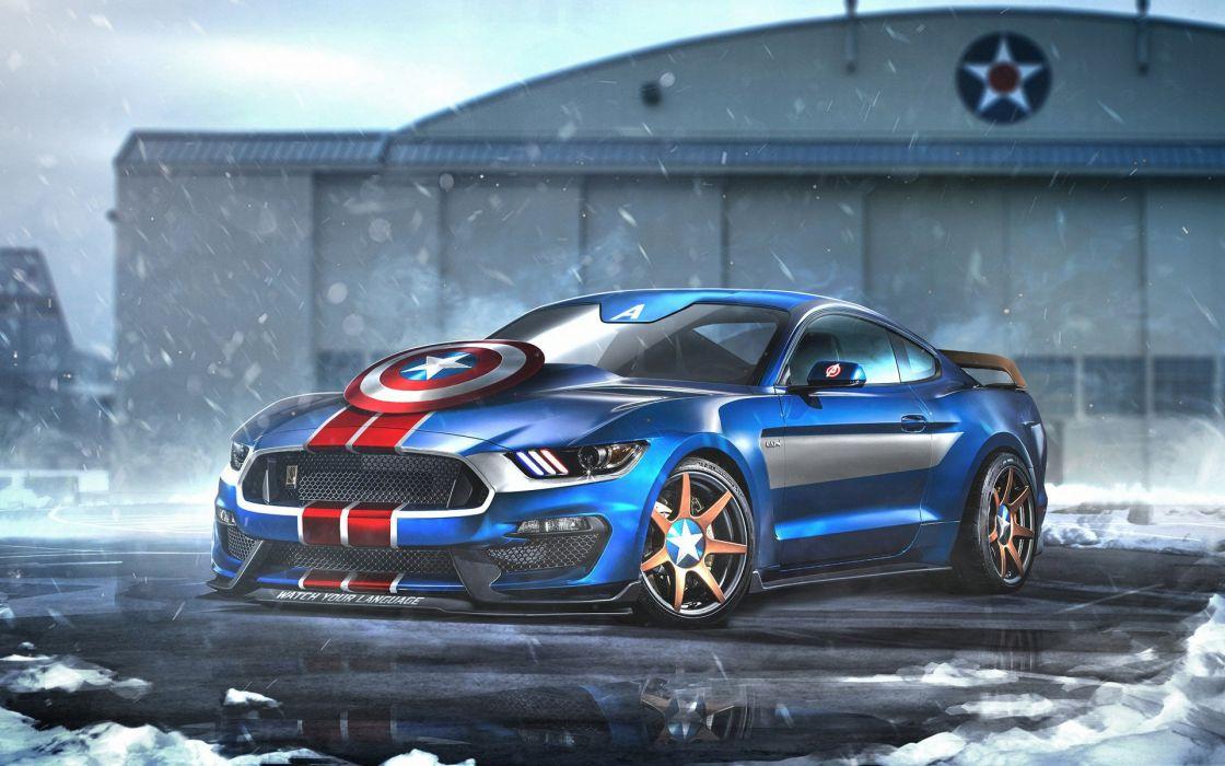 Captain America Ford Mustang GT350R wallpaper