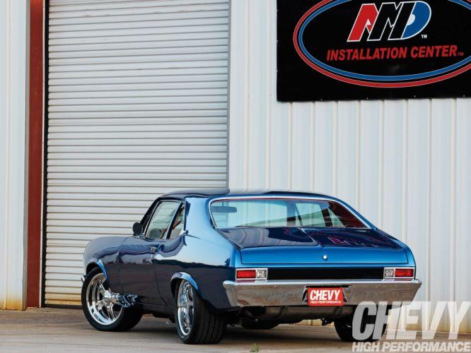 1971 chevy nova cars blue wallpaper