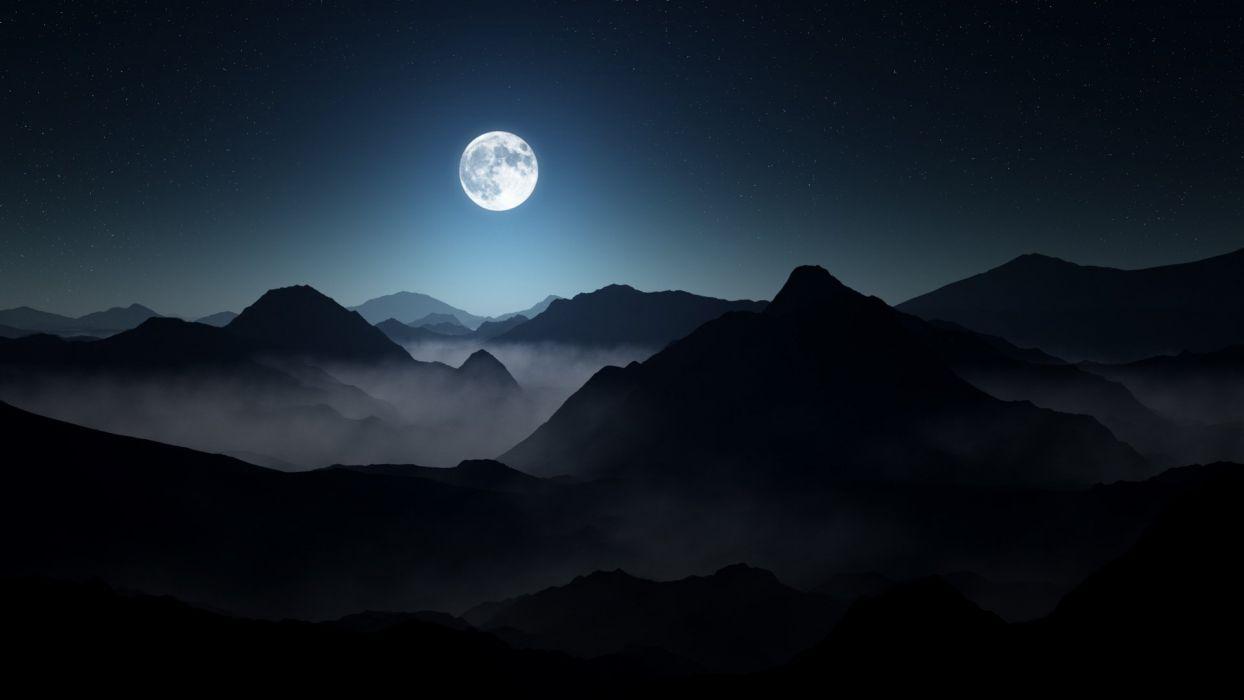 Full Moon Dark Mountains wallpaper