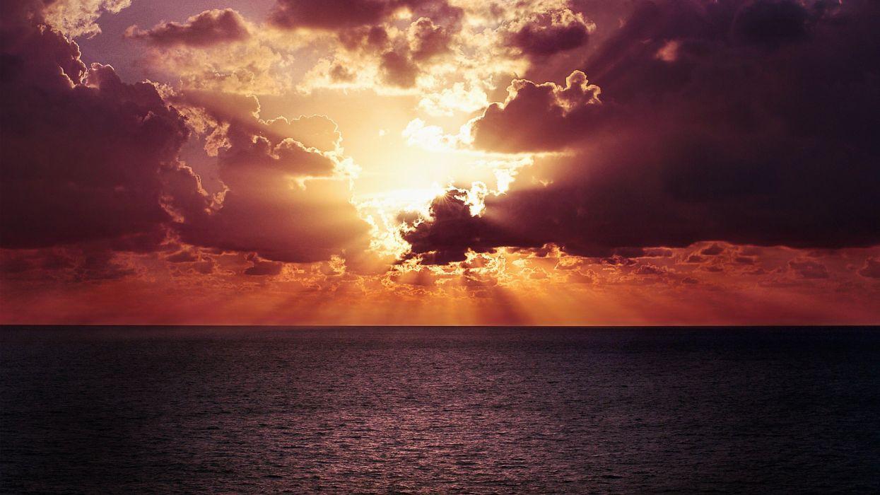 Ocean Horizon Sunset wallpaper