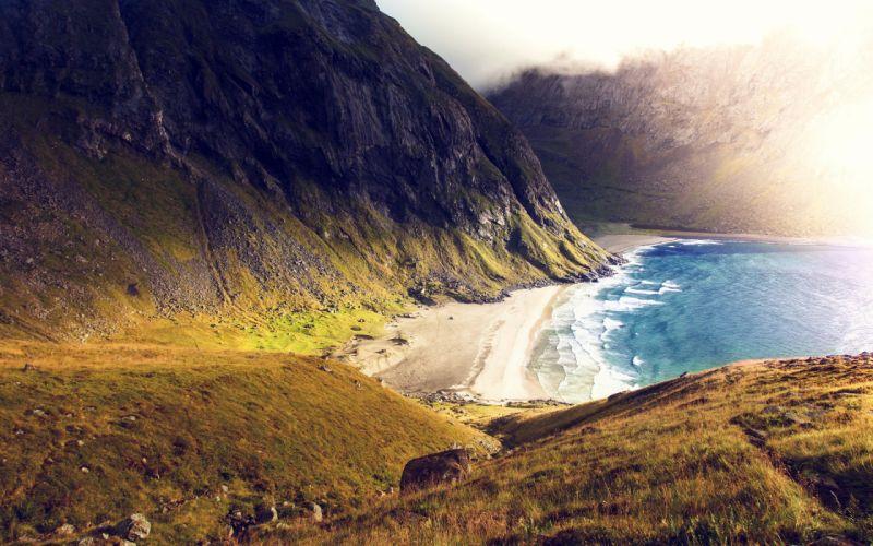 Seashore Coast Mountains wallpaper