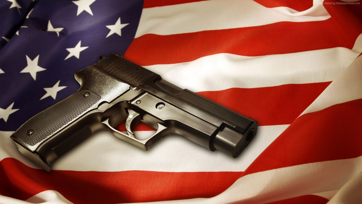 Pistol with American Flag wallpaper