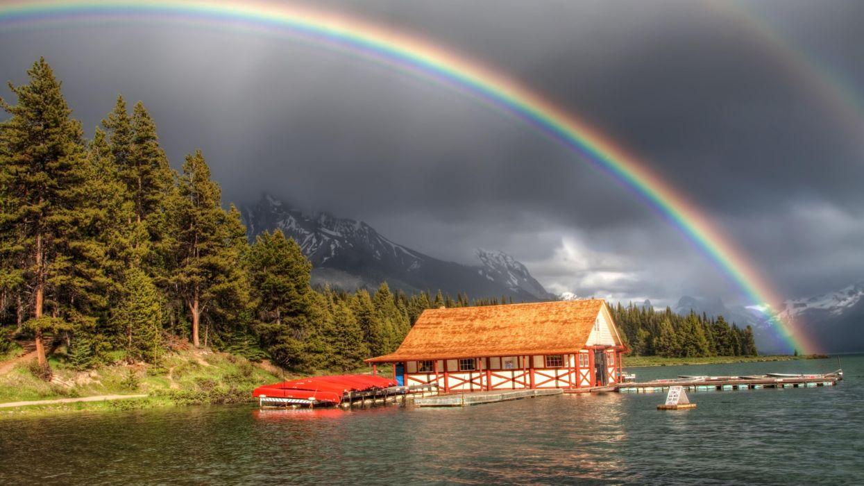 arco iris lago bosque naturaleza casa wallpaper