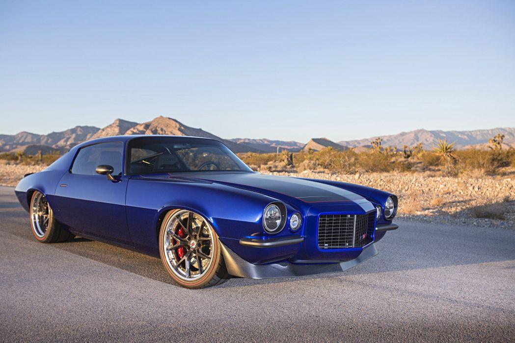 1971 chevy Camaro cars blue modified wallpaper