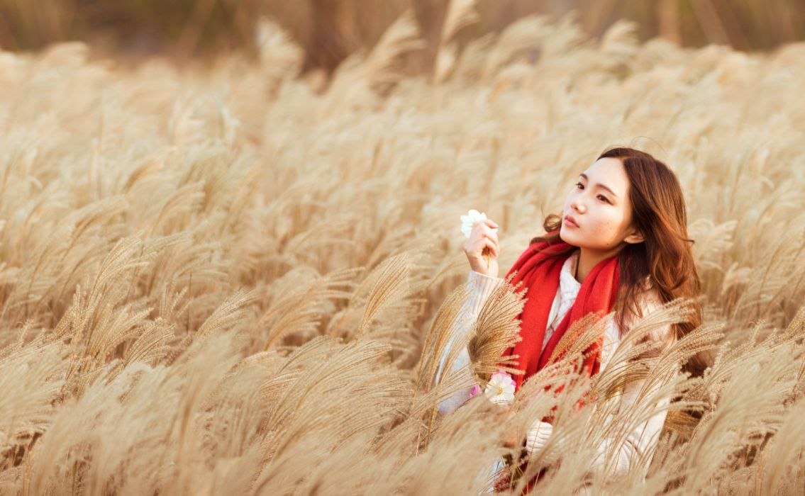 Girls Girl With A Red Scarf Reeds Girl Beauty Reed wallpaper