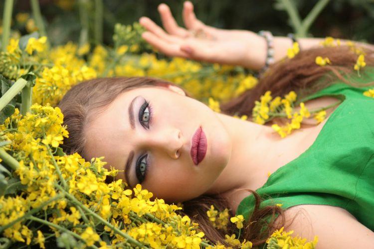 Girl Flowers Yellow Beauty Nature wallpaper
