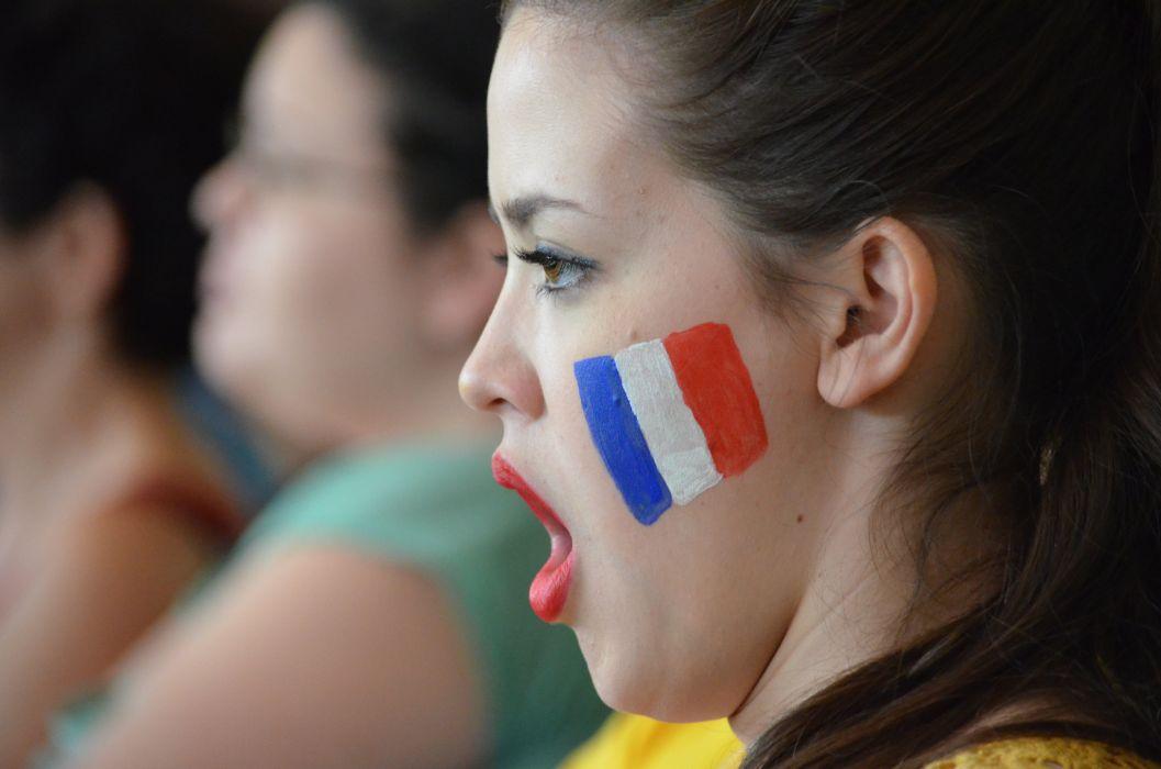 Girl Support Scream Motivation France Flag wallpaper