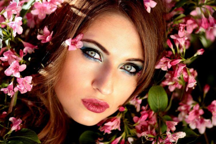 Girl Flowers Pink Blue Eyes Beauty Spring wallpaper